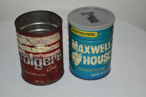 2 Vintage COFFEE tins Blue Maxwell House 16  oz. & Folger 16 oz. Regular can VGC