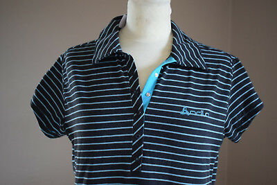 Odlo Polo T-Shirt Oberteil schwarz/türkis gestreift Damen Gr. M Polyestermischun online kaufen