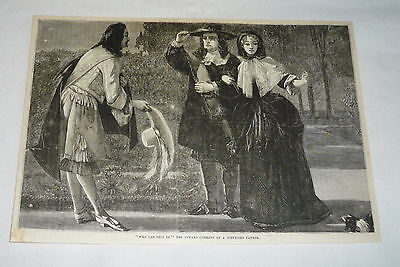 1878 magazine engraving ~  FATHER AND DAUGHTER MEET SUITOR On Their Walk](Father And Daughter Costumes)