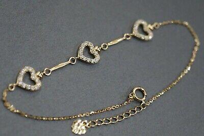 14K Solid Yellow Gold Beautiful Three Heart With CZ Fancy Women - 14k Yellow Gold Heart Bracelet