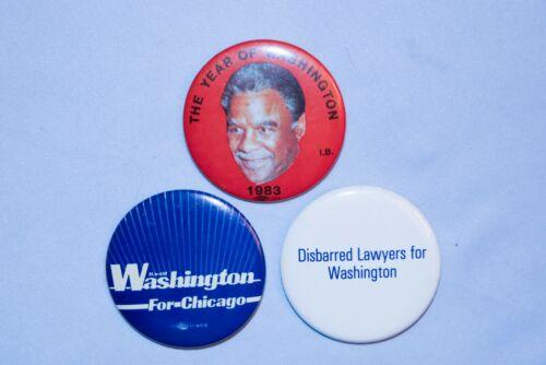 3  Vintage Chicago Mayor Harold Washington Campaign Button Pinback Pin