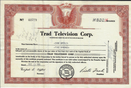 NEW JERSEY 1955 Trad Television Corp Stock Certificate Early TV Asbury Park