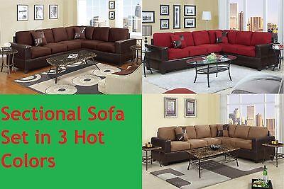 2 pcs Microfiber & Leather Sectional Sofa Living Room Furniture Sofa Chaise