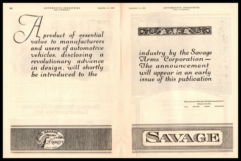 1919 Savage Arms Corporation Sharon Pennsylvania Utica New York 2-Page Print Ad