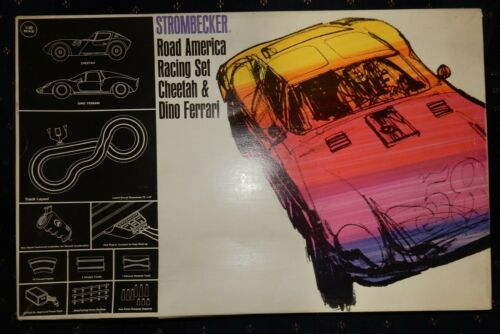 1966 Strombecker 1:32 Road America Racing Slot Race Set Cheetah & Dino Ferrari