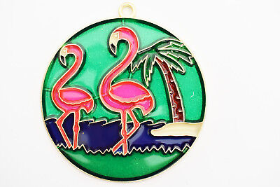 Pink Flamingos Suncatcher Colorful 4 1/2