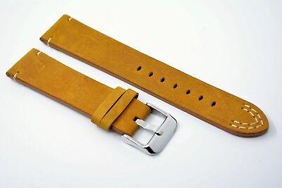 Uhrenarmband mit Wulst echtes Leder blau kompatibel für Camel Trophy  18 mm