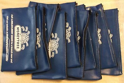 QTY 10 NEW BLUE Money Tree Zippered / Bank / Deposit / Money Organizer Art / Bag
