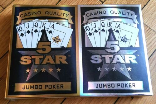 5 Star Jumbo Poker Playing Cards 2 Pack Sealed Casino