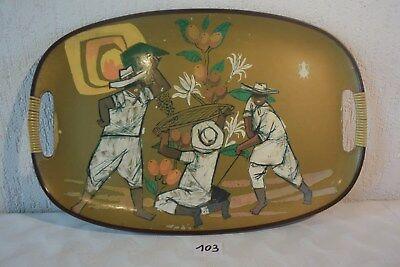 C103 Ancien plateau vintage art deco indochine de 45 cm
