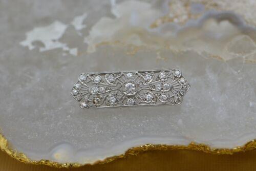 Platinum and Diamond Gem Quality Edwardian Deco Pin, Circa 1925