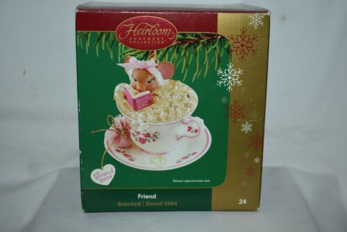 Carlton Cards Heirloom 2004 FRIENDS Charming Mouse In A Cup