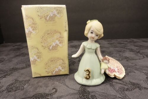 "Vintage ""Growing Up Birthday Girl"" Figurine Blonde Age 3 Enesco 1981"