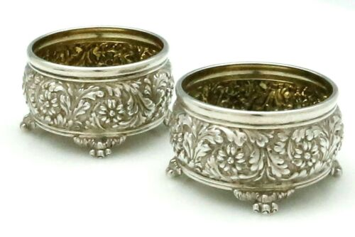 Pair TIFFANY REPOUSSE Sterling OPEN SALTS Paw Feet