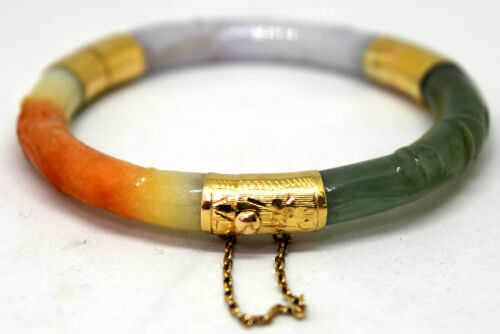 Vintage Chinese 14K Solid Gold and Natural Hand Carved Jade Bangle/Bracelet