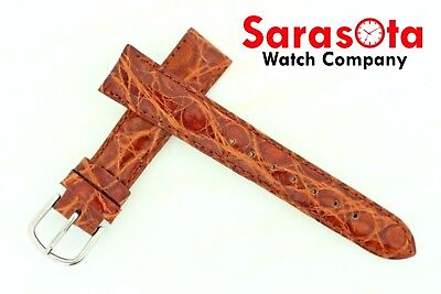 deBeer Genuine Crocodile 16/14 mm Buckle Havana/Brown Stitched Short Watch Band