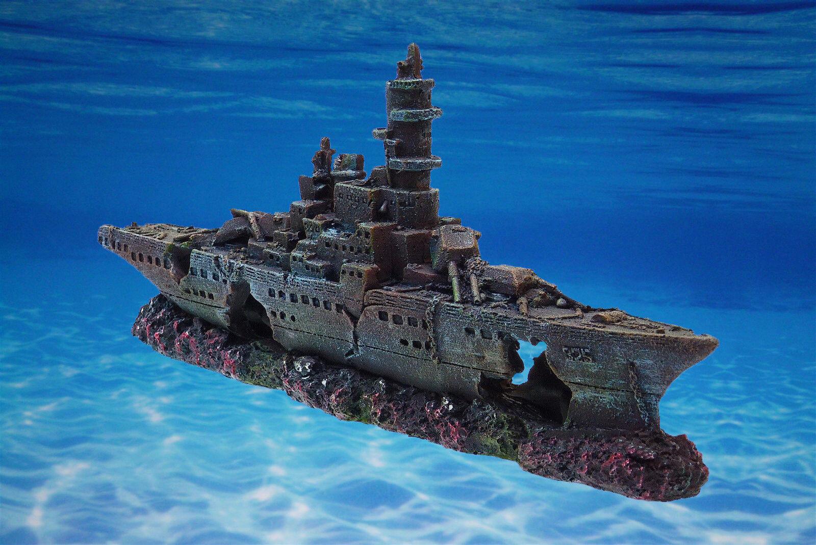Aquarium Deko ❤️ SCHIFFSWRACK ❤️ Kriegsschiff Terrarium Dekoration Zubehör Höhle