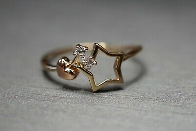 14K Solid Yellow Gold Star With Tiny Heart Fancy CZ Ring. Size 7 Gold Star Heart