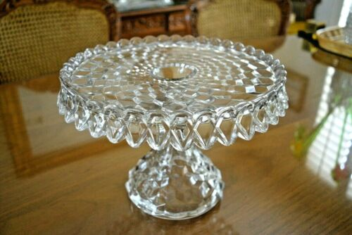 """FOSTORIA ~ AMERICAN Pattern ~ Crystal Clear ROUND CAKE STAND 10"""" w Rum Well"""
