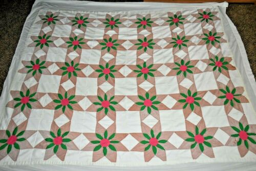 """Vintage 87""""  X 72"""" Large flowers  QUILT FULL  chic retro HANDCRAFTED USA! made"""