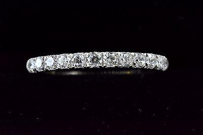 Diamond Wedding Band Ring 0.36Ct Round Cut 14K W Gold French Pave Anniversary Pave Diamond Anniversary Band