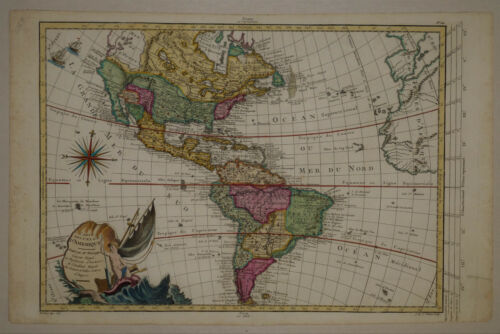 1767 Genuine Antique map N & S America. Quivira. Mer de l