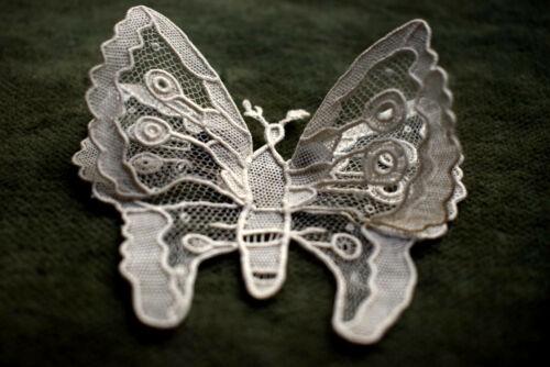 Antique Original Brussels Lace  / Point De Gaze Butterfly