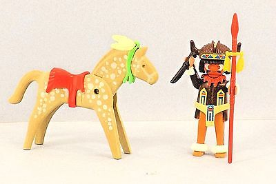 Playmobil INDIAN BRAVE W/ ACCESSORIES SPEAR FEATHERS KNIFE PAINTED HORSE SADDLE , used for sale  Melbourne