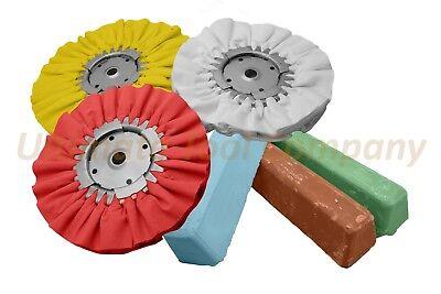 Complete 6pc Kit Buffing Wheel & Polishing Aluminum Brown Blue Red Compound Set Polishing Aluminum Wheels
