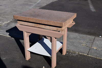 Herman Stone Granite Machinist Inspection Surface Plate 36x24x6 Pink Stand