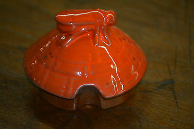 Vintage Frankoma Pottery Sunset Red Honey Jar Pot Bee Hive Replacement Lid