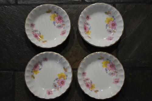 Vintage WS George China Fruit Bowls Set of 4 Bolero Goldtone Trim Flowers Floral