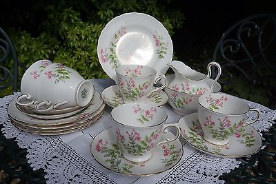 Vintage Tuscan China Part Tea Set with Pretty Pink Floral Design