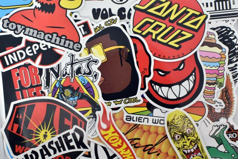 100 Skate Brand Vinyl Stickers for Hydro Flask Laptop Suitcase Skateboard Guitar