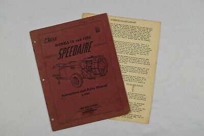 John Bean Model 12 And 12rc Speedaire Instructions And Parts Manual L-987