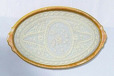 """Vintage Vanity Tray with Lace Under Glass Celluloid Frame 1920's Oval 15"""""""