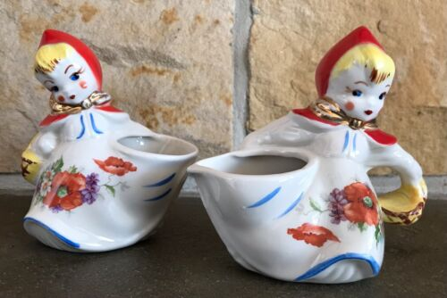 VINTAGE HULL LITTLE RED RIDING HOOD OPEN CREAMER AND SUGAR BOWL SET