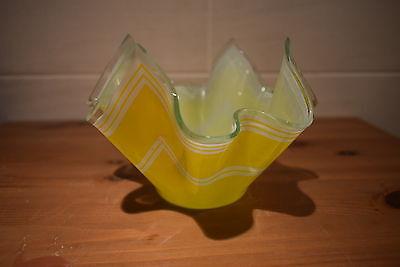 YELLOW AND WHITE STRIPED GLASS HANDKERCHIEF VASE WINDOW HOUSE DECORATION ORNAMEN