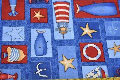 By 1/2 Yd, Nautical Theme on Blue Fabric, Quilt Shops SSI/Debbie-Mumm, N3985
