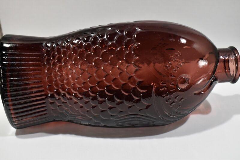 "Wheaton Fish Glass Bottle Purple 7"""