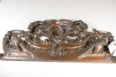 Antique 19th c French Wood carved gothic dragons catching bird pediment fronton