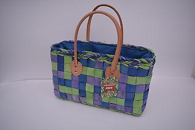 Blau Stroh Handtaschen (Handtasche Strandtasche Korbtasche Strand Strohtasche Badetasche Top Angebot)
