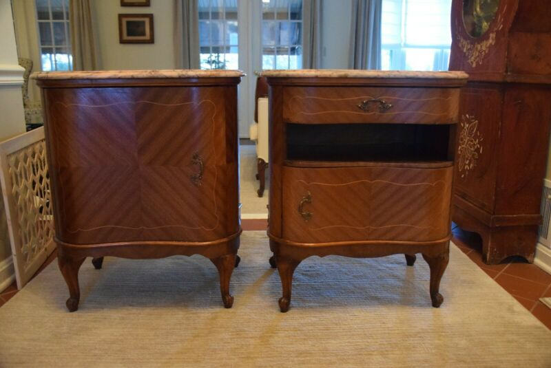 Pair of Antique French Nightstands with Inlay Wood and Marble Tops