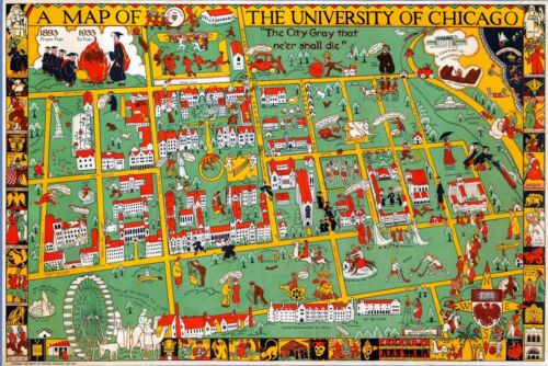 1932 pictorial map University of Chicago Alumnae Club 12123
