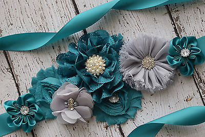 Flower Sash, teal and grey sash , flower Belt, maternity sash, wedding sash