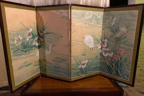 "Byobu Japanese 4-Panel Folding Screen Hand Painting 70"" x 35"""
