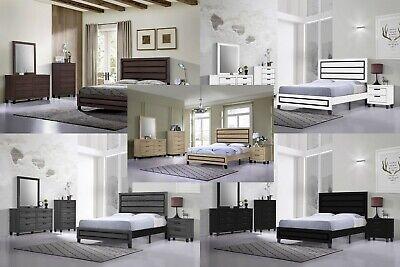 Bed Nightstand Dresser Mirror Chest - 5Pc Wood Panel Bedroom Set, Queen Size Bed, Dresser, Mirror, Night Stand, Chest
