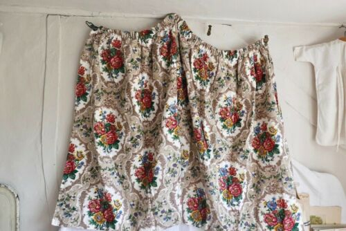 Vintage Barkcloth Fabric Curtains Floral Cotton Pink Yellow & Blue Bouquets /1pc