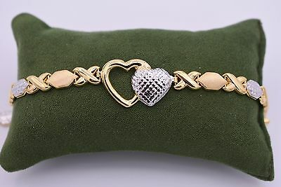 "7"" Hearts & Hugs Bracelet Stampato 14K Yellow White Gold Clad Silver XOXO 925"
