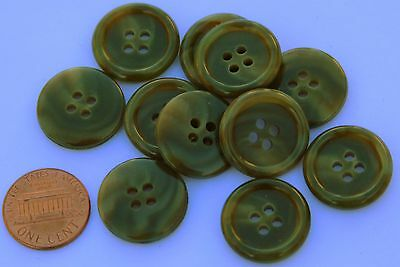 Plastic Green Olive (12 Olive Green Matte Center Shiny Edge Plastic Buttons Hair Ovr 3/4